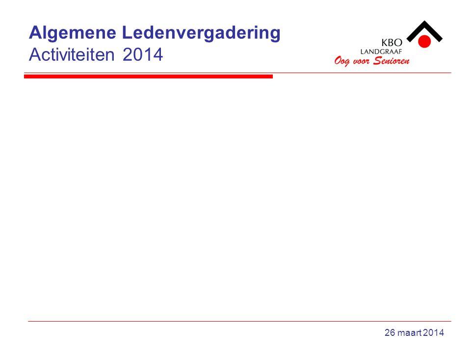 Algemene Ledenvergadering Activiteiten 2014 26 maart 2014