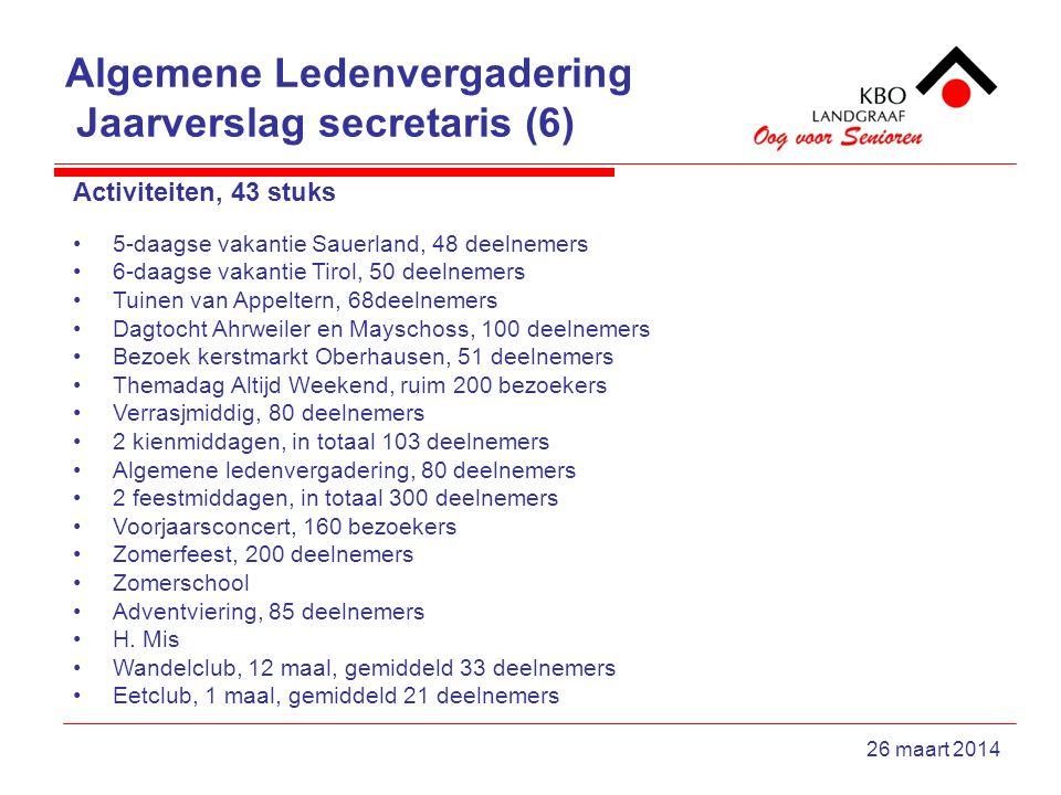 Algemene Ledenvergadering Jaarverslag secretaris (6) 26 maart 2014 Activiteiten, 43 stuks 5-daagse vakantie Sauerland, 48 deelnemers 6-daagse vakantie Tirol, 50 deelnemers Tuinen van Appeltern, 68deelnemers Dagtocht Ahrweiler en Mayschoss, 100 deelnemers Bezoek kerstmarkt Oberhausen, 51 deelnemers Themadag Altijd Weekend, ruim 200 bezoekers Verrasjmiddig, 80 deelnemers 2 kienmiddagen, in totaal 103 deelnemers Algemene ledenvergadering, 80 deelnemers 2 feestmiddagen, in totaal 300 deelnemers Voorjaarsconcert, 160 bezoekers Zomerfeest, 200 deelnemers Zomerschool Adventviering, 85 deelnemers H.