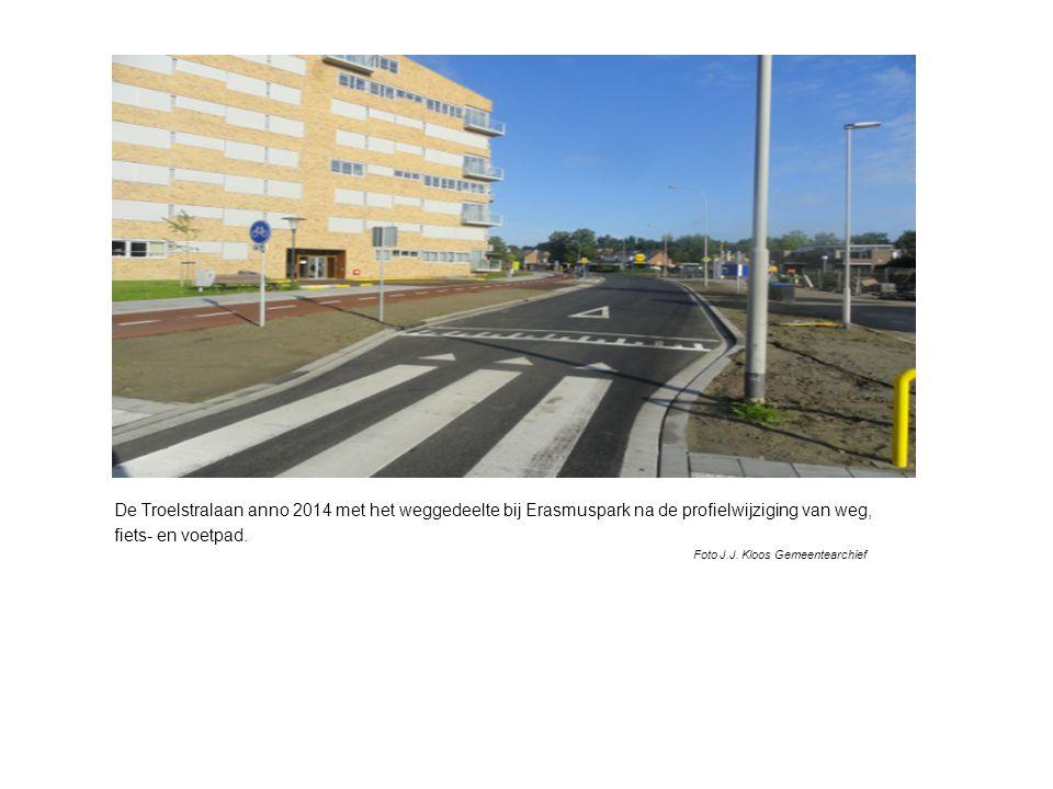 De Troelstralaan anno 2014 met het weggedeelte bij Erasmuspark na de profielwijziging van weg, fiets- en voetpad.