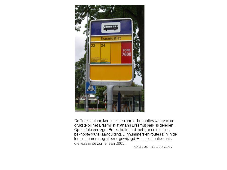 De Troelstralaan kent ook een aantal bushaltes waarvan de drukste bij het Erasmusflat (thans Erasmuspark) is gelegen.