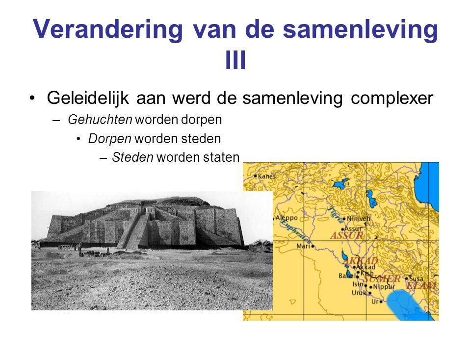Verandering van de samenleving III Geleidelijk aan werd de samenleving complexer –Gehuchten worden dorpen Dorpen worden steden –Steden worden staten