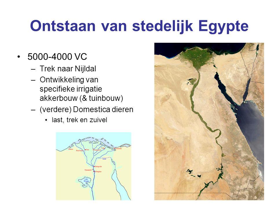 Ontstaan van stedelijk Egypte 5000-4000 VC –Trek naar Nijldal –Ontwikkeling van specifieke irrigatie akkerbouw (& tuinbouw) –(verdere) Domestica dieren last, trek en zuivel