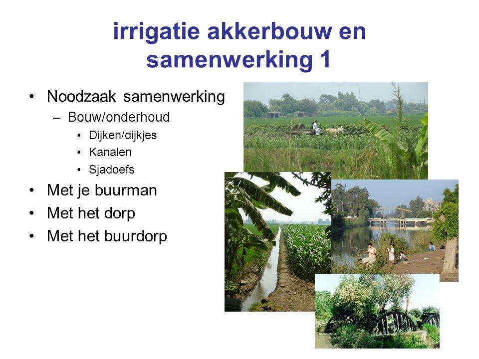 irrigatie akkerbouw en samenwerking 1 Noodzaak samenwerking –Bouw/onderhoud Dijken/dijkjes Kanalen Sjadoefs Met je buurman Met het dorp Met het buurdorp