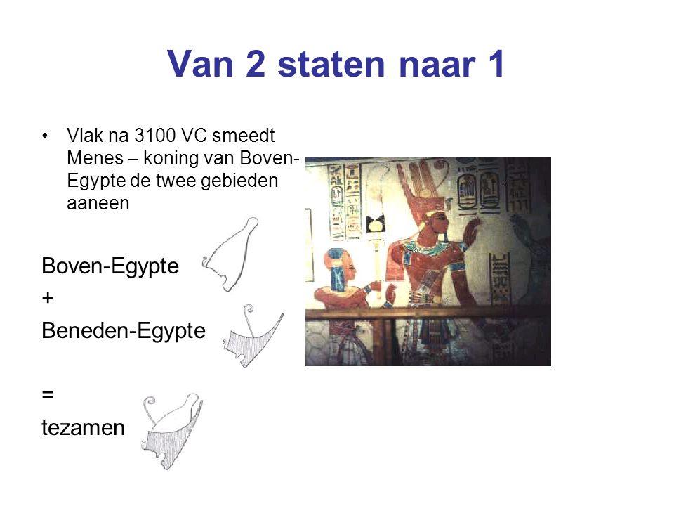 Van 2 staten naar 1 Vlak na 3100 VC smeedt Menes – koning van Boven- Egypte de twee gebieden aaneen Boven-Egypte + Beneden-Egypte = tezamen