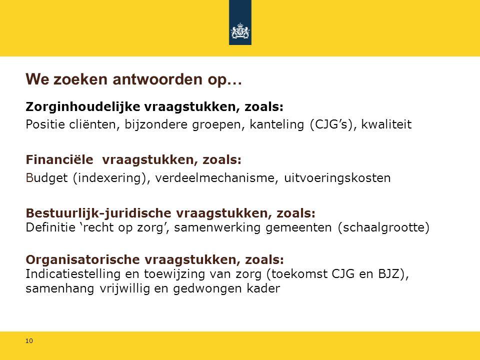 10 We zoeken antwoorden op… Zorginhoudelijke vraagstukken, zoals: Positie cliënten, bijzondere groepen, kanteling (CJG's), kwaliteit Financiële vraagstukken, zoals: Budget (indexering), verdeelmechanisme, uitvoeringskosten Bestuurlijk-juridische vraagstukken, zoals: Definitie 'recht op zorg', samenwerking gemeenten (schaalgrootte) Organisatorische vraagstukken, zoals: Indicatiestelling en toewijzing van zorg (toekomst CJG en BJZ), samenhang vrijwillig en gedwongen kader