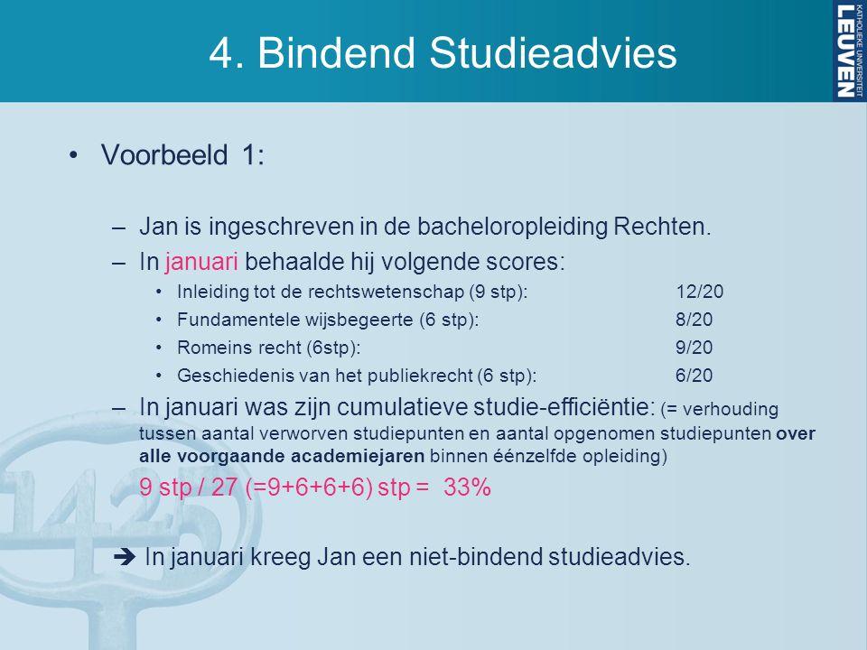4. Bindend Studieadvies Voorbeeld 1: –Jan is ingeschreven in de bacheloropleiding Rechten. –In januari behaalde hij volgende scores: Inleiding tot de