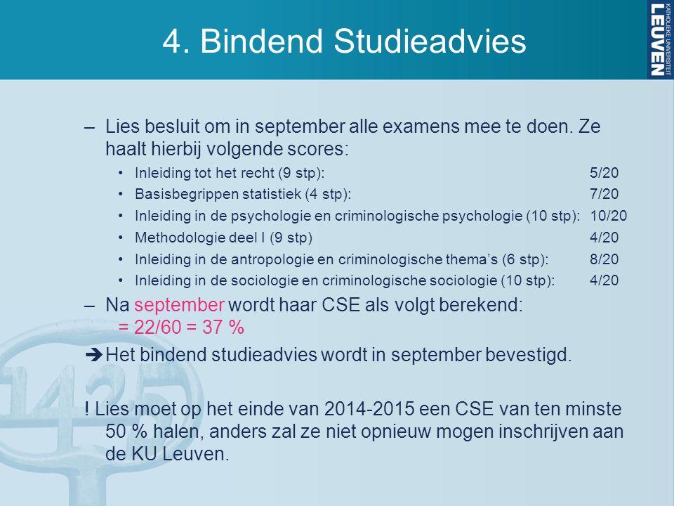 4. Bindend Studieadvies –Lies besluit om in september alle examens mee te doen. Ze haalt hierbij volgende scores: Inleiding tot het recht (9 stp):5/20