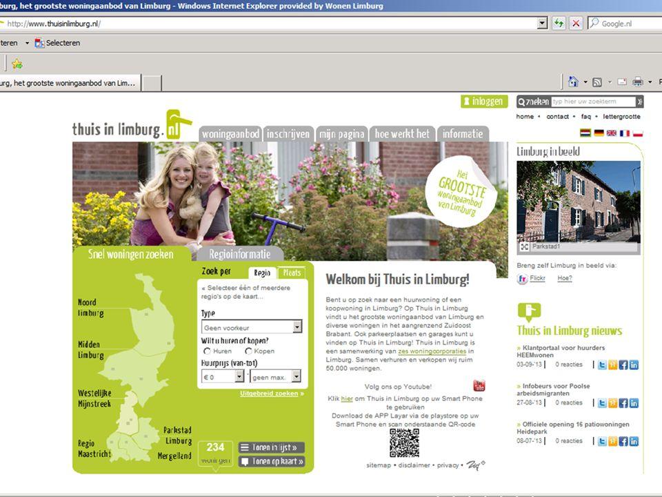 6Verhuurproces Alle woningen toegankelijk voor huurtoeslag Inkomensgrens 2014: verzamelinkomen huishouden € 34.678,- Thuis in Limburg (TIL)