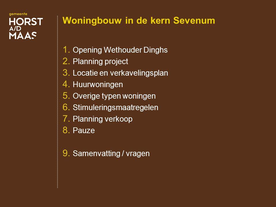 Woningbouw in de kern Sevenum 1. Opening Wethouder Dinghs 2. Planning project 3. Locatie en verkavelingsplan 4. Huurwoningen 5. Overige typen woningen