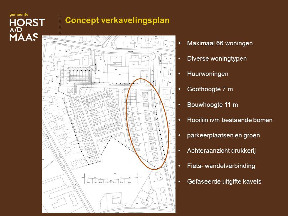 Concept verkavelingsplan Maximaal 66 woningen Diverse woningtypen Huurwoningen Goothoogte 7 m Bouwhoogte 11 m Rooilijn ivm bestaande bomen parkeerplaa