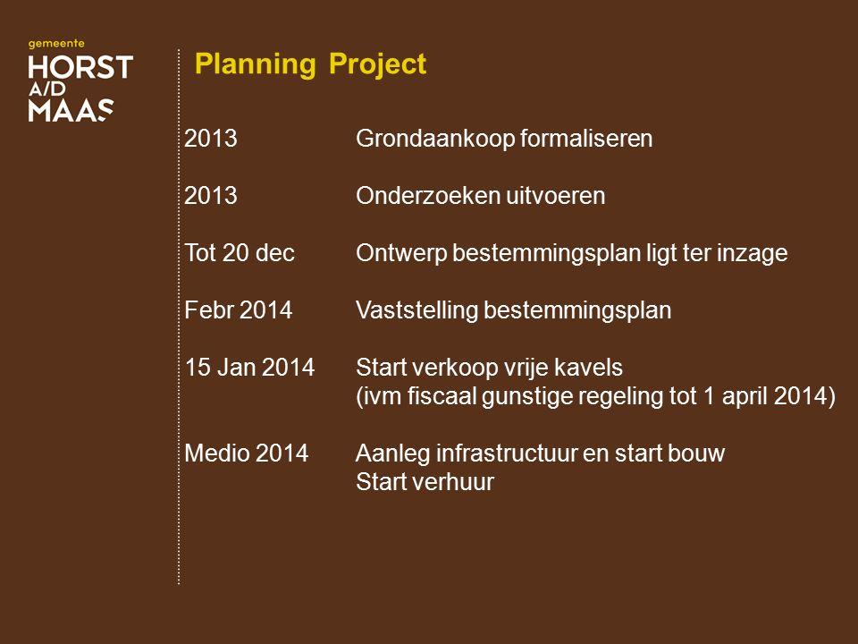 Planning Project 2013Grondaankoop formaliseren 2013Onderzoeken uitvoeren Tot 20 decOntwerp bestemmingsplan ligt ter inzage Febr 2014Vaststelling beste