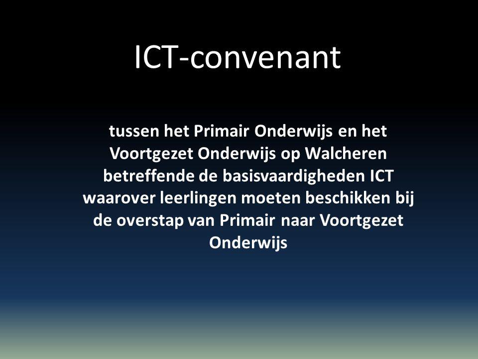 De scholen voor Primair en Voortgezet Onderwijs op Walcheren verklaren te zijn overeengekomen de ontwikkeling van het ICT- curriculum onderling af te stemmen volgens de doelstellingen zoals die in de bijlage zijn vermeld.