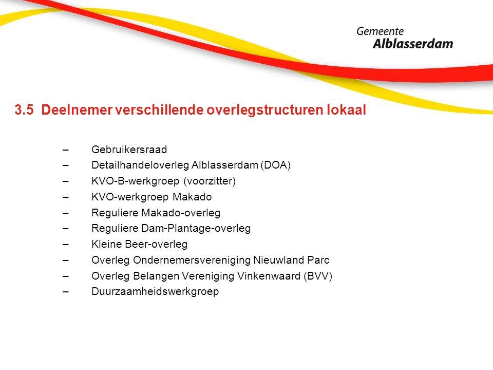 3.5 Deelnemer verschillende overlegstructuren lokaal –Gebruikersraad –Detailhandeloverleg Alblasserdam (DOA) –KVO-B-werkgroep (voorzitter) –KVO-werkgroep Makado –Reguliere Makado-overleg –Reguliere Dam-Plantage-overleg –Kleine Beer-overleg –Overleg Ondernemersvereniging Nieuwland Parc –Overleg Belangen Vereniging Vinkenwaard (BVV) –Duurzaamheidswerkgroep