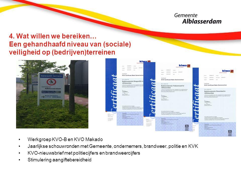 4. Wat willen we bereiken… Een gehandhaafd niveau van (sociale) veiligheid op (bedrijven)terreinen Werkgroep KVO-B en KVO Makado Jaarlijkse schouwrond