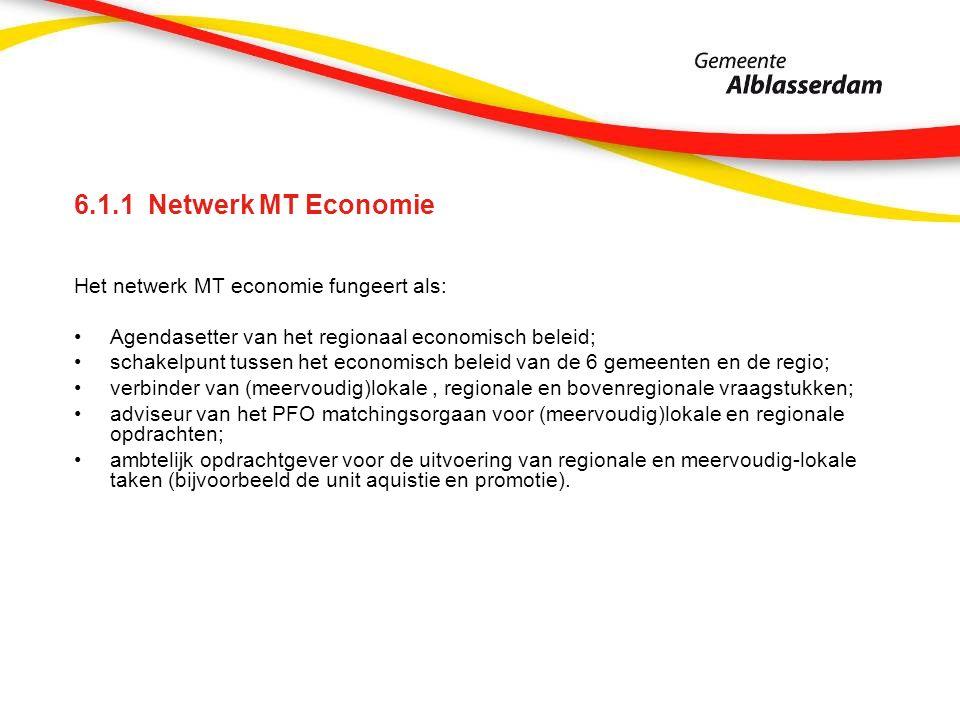 6.1.1 Netwerk MT Economie Het netwerk MT economie fungeert als: Agendasetter van het regionaal economisch beleid; schakelpunt tussen het economisch beleid van de 6 gemeenten en de regio; verbinder van (meervoudig)lokale, regionale en bovenregionale vraagstukken; adviseur van het PFO matchingsorgaan voor (meervoudig)lokale en regionale opdrachten; ambtelijk opdrachtgever voor de uitvoering van regionale en meervoudig-lokale taken (bijvoorbeeld de unit aquistie en promotie).