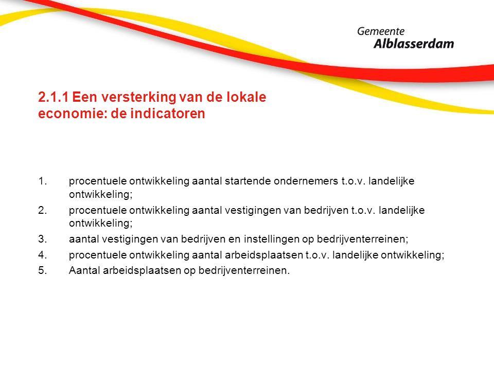 2.1.1 Een versterking van de lokale economie: de indicatoren 1.procentuele ontwikkeling aantal startende ondernemers t.o.v. landelijke ontwikkeling; 2