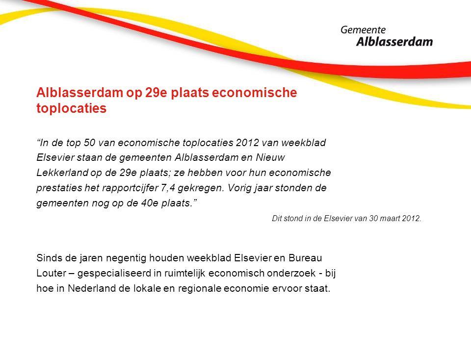 Alblasserdam op 29e plaats economische toplocaties In de top 50 van economische toplocaties 2012 van weekblad Elsevier staan de gemeenten Alblasserdam en Nieuw Lekkerland op de 29e plaats; ze hebben voor hun economische prestaties het rapportcijfer 7,4 gekregen.