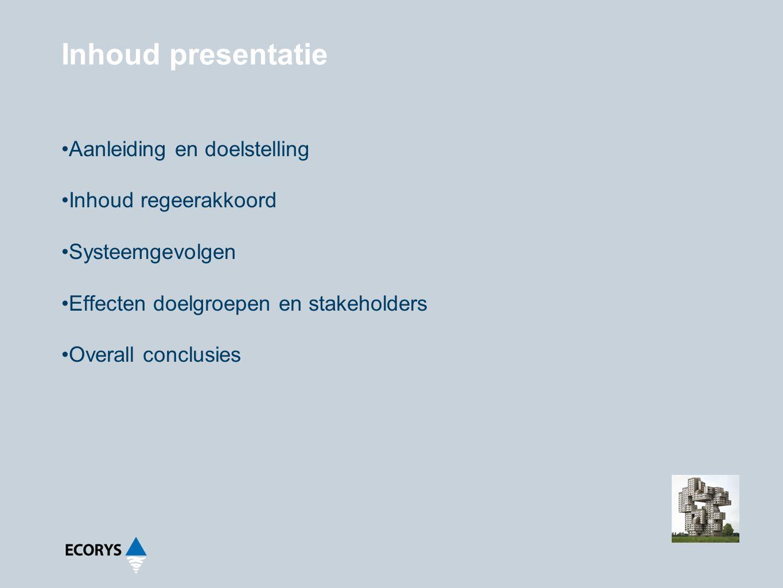 Inhoud presentatie Aanleiding en doelstelling Inhoud regeerakkoord Systeemgevolgen Effecten doelgroepen en stakeholders Overall conclusies