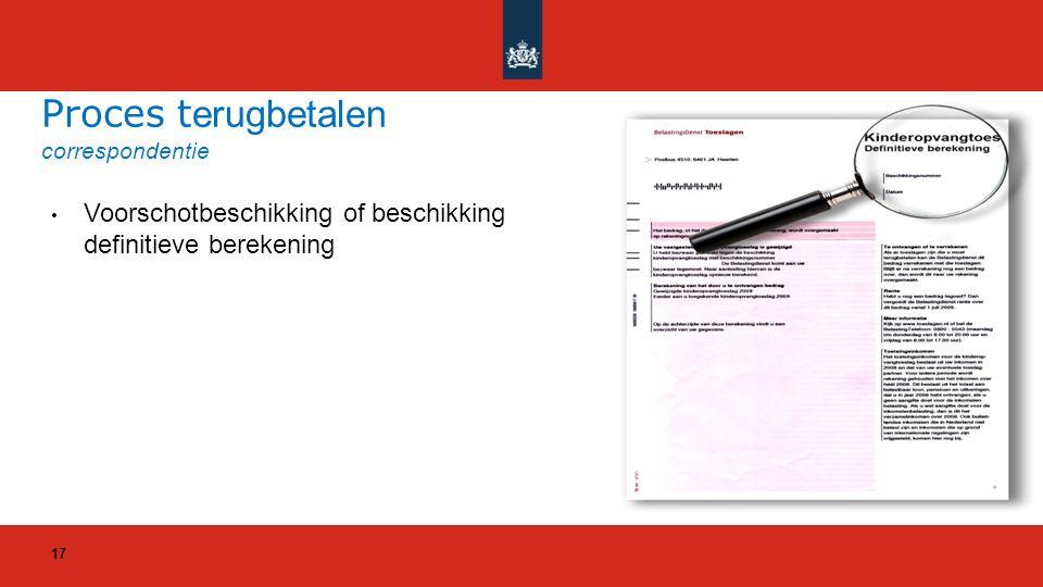 Voorschotbeschikking of beschikking definitieve berekening Proces t erugbetalen correspondentie 17