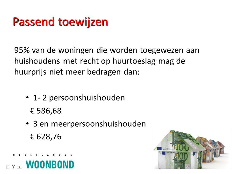 Passend toewijzen 95% van de woningen die worden toegewezen aan huishoudens met recht op huurtoeslag mag de huurprijs niet meer bedragen dan: 1- 2 persoonshuishouden € 586,68 3 en meerpersoonshuishouden € 628,76