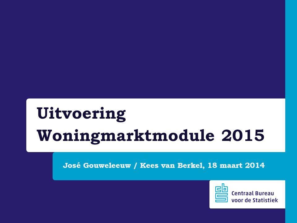 José Gouweleeuw / Kees van Berkel, 18 maart 2014 Uitvoering Woningmarktmodule 2015