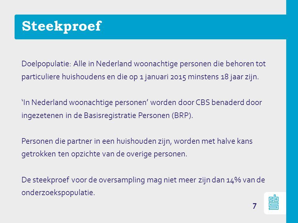 Steekproef 7 Doelpopulatie: Alle in Nederland woonachtige personen die behoren tot particuliere huishoudens en die op 1 januari 2015 minstens 18 jaar zijn.