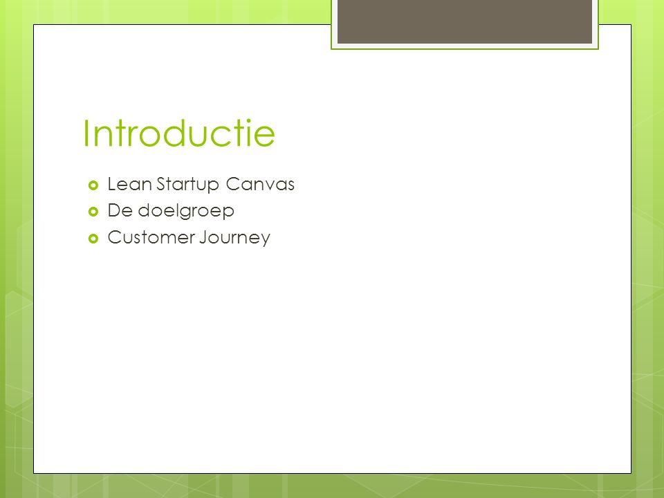 Introductie  Lean Startup Canvas  De doelgroep  Customer Journey