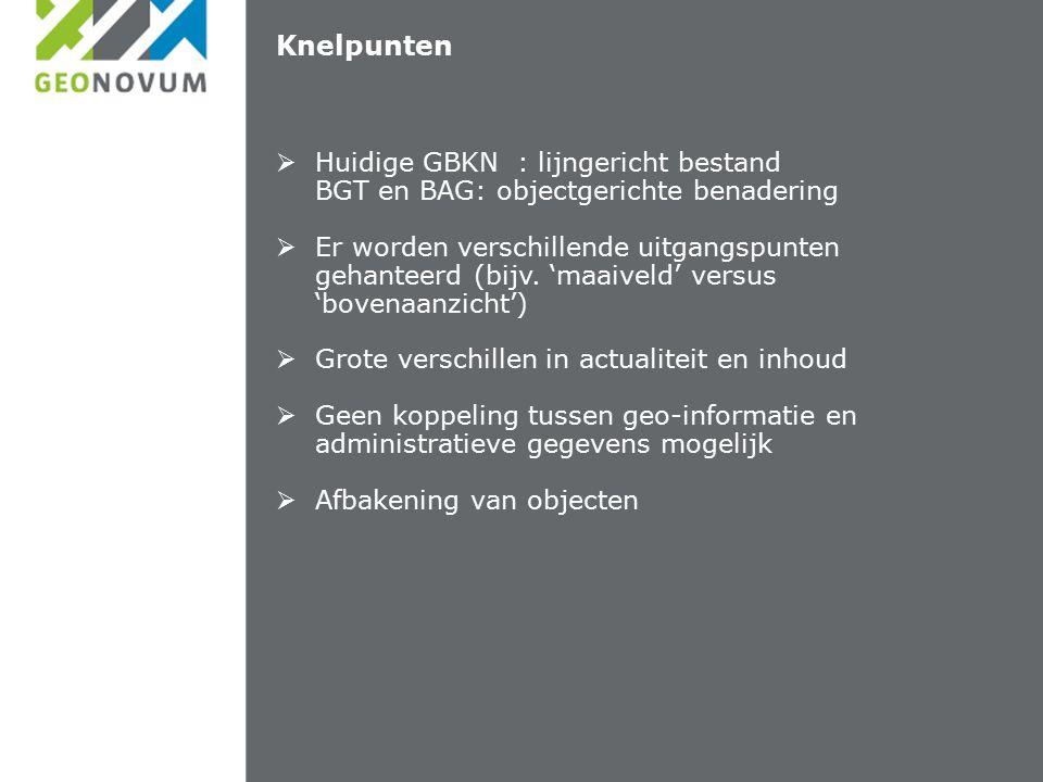 Knelpunten  Huidige GBKN : lijngericht bestand BGT en BAG: objectgerichte benadering  Er worden verschillende uitgangspunten gehanteerd (bijv.