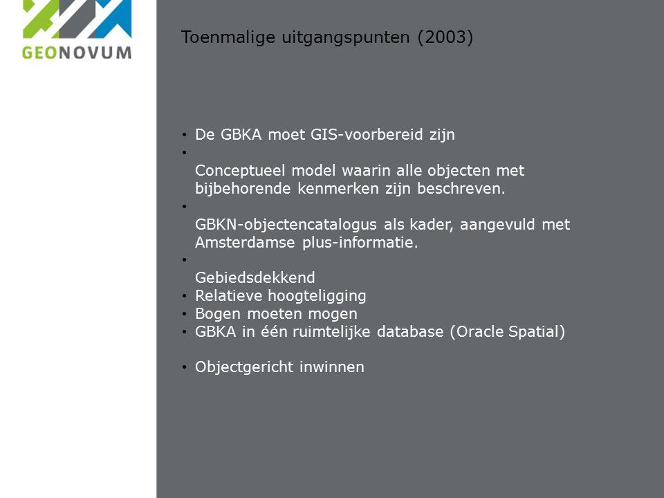 Toenmalige uitgangspunten (2003) De GBKA moet GIS-voorbereid zijn Conceptueel model waarin alle objecten met bijbehorende kenmerken zijn beschreven.