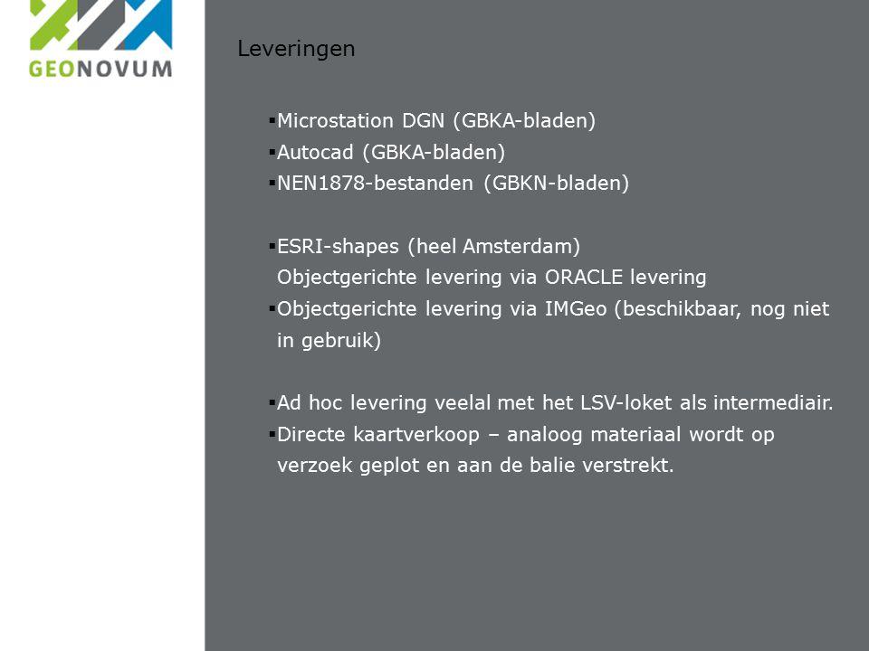 Leveringen  Microstation DGN (GBKA-bladen)  Autocad (GBKA-bladen)  NEN1878-bestanden (GBKN-bladen)  ESRI-shapes (heel Amsterdam) Objectgerichte levering via ORACLE levering  Objectgerichte levering via IMGeo (beschikbaar, nog niet in gebruik)  Ad hoc levering veelal met het LSV-loket als intermediair.