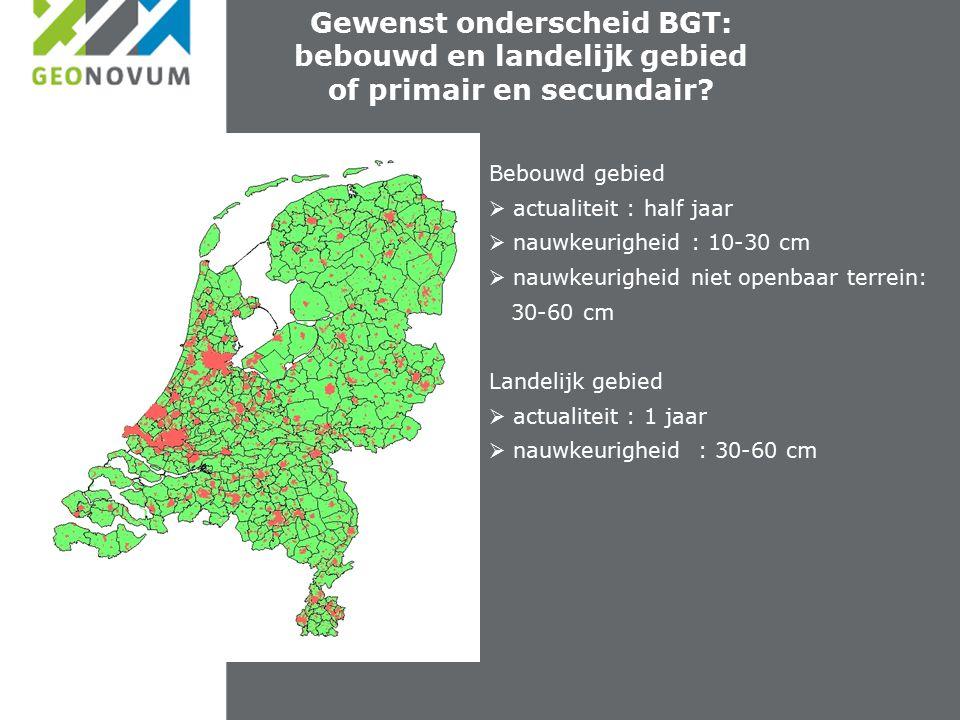 Afstemming van geo Gewenst onderscheid BGT: bebouwd en landelijk gebied of primair en secundair.
