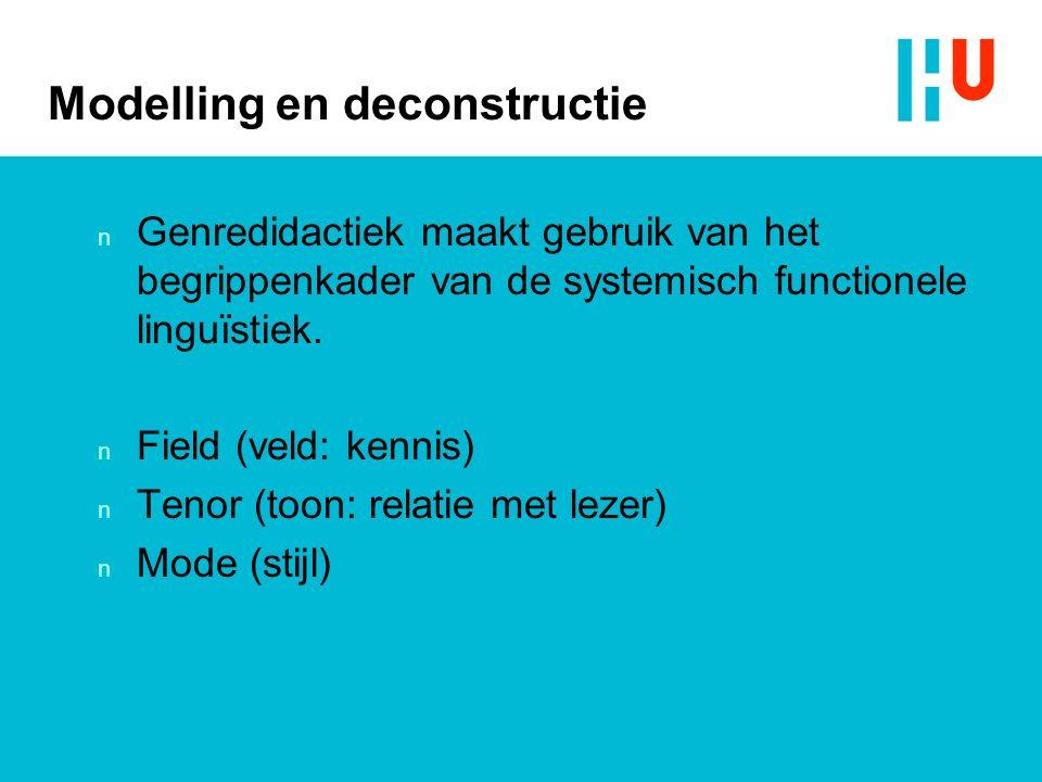 Modelling en deconstructie n Genredidactiek maakt gebruik van het begrippenkader van de systemisch functionele linguïstiek.