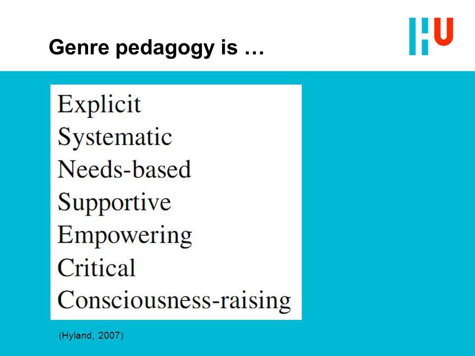 Genre pedagogy is … (Hyland, 2007)