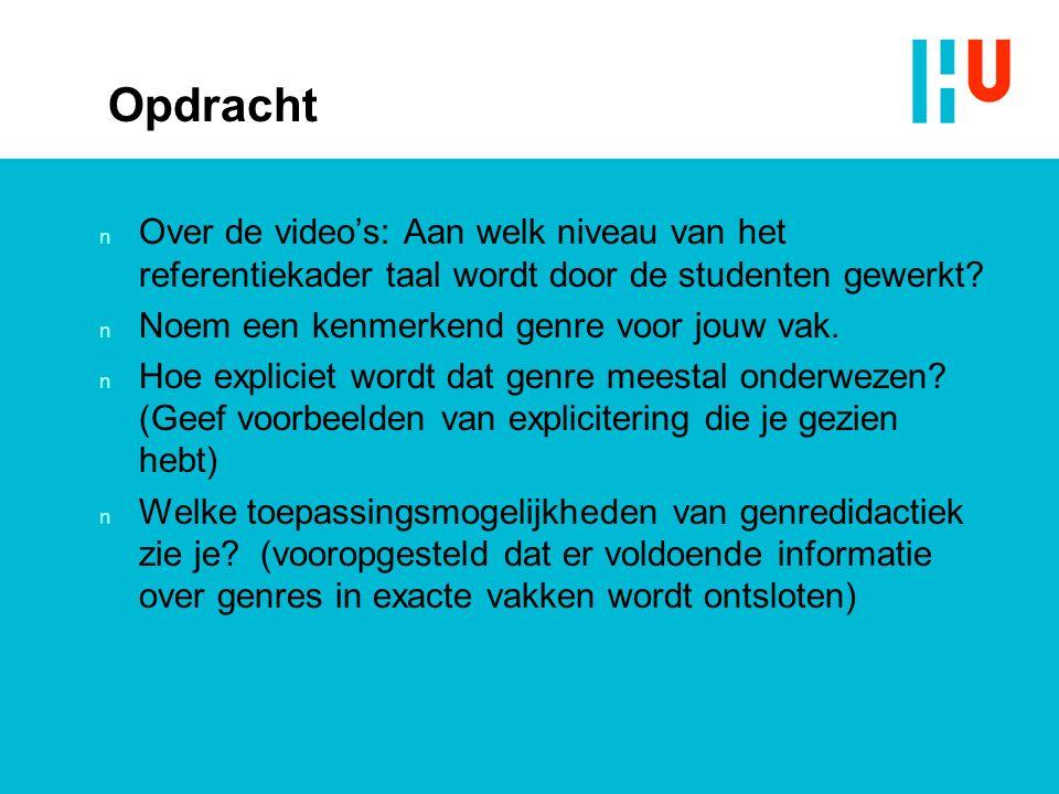 Opdracht n Over de video's: Aan welk niveau van het referentiekader taal wordt door de studenten gewerkt.