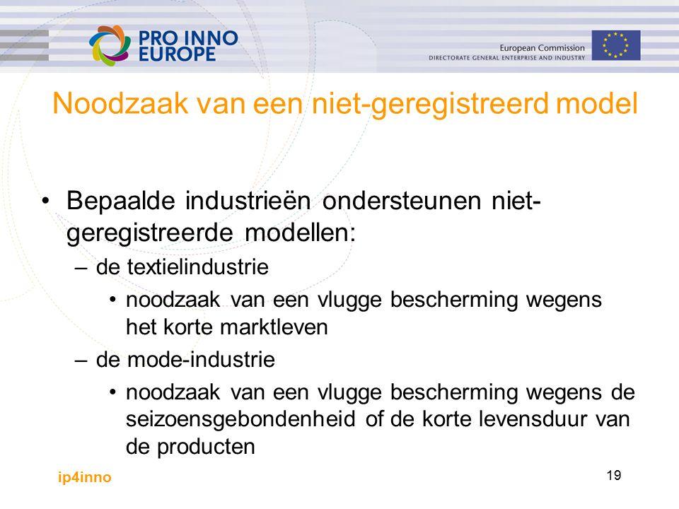 ip4inno 19 Noodzaak van een niet-geregistreerd model Bepaalde industrieën ondersteunen niet- geregistreerde modellen: –de textielindustrie noodzaak van een vlugge bescherming wegens het korte marktleven –de mode-industrie noodzaak van een vlugge bescherming wegens de seizoensgebondenheid of de korte levensduur van de producten