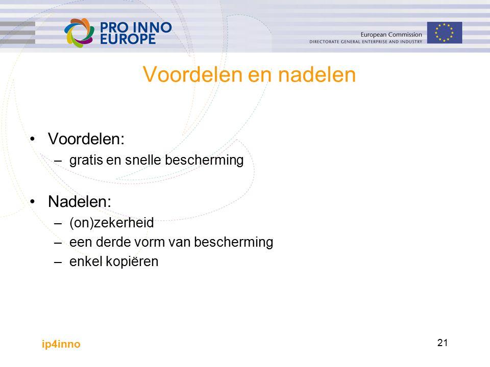 ip4inno 21 Voordelen en nadelen Voordelen: –gratis en snelle bescherming Nadelen: –(on)zekerheid –een derde vorm van bescherming –enkel kopiëren