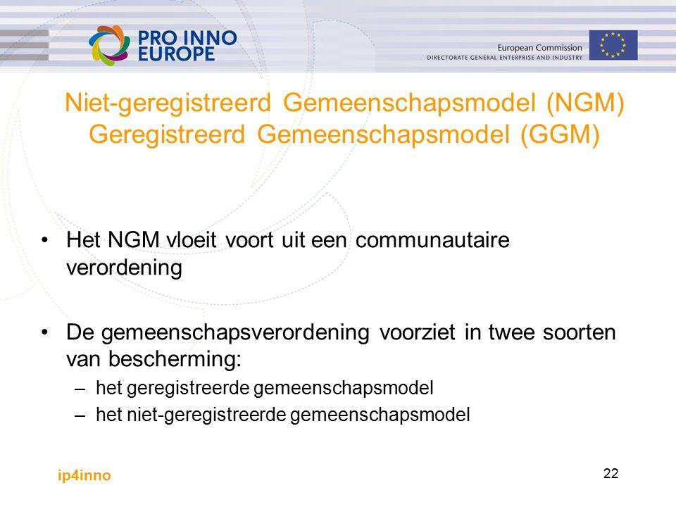 ip4inno 22 Niet-geregistreerd Gemeenschapsmodel (NGM) Geregistreerd Gemeenschapsmodel (GGM) Het NGM vloeit voort uit een communautaire verordening De gemeenschapsverordening voorziet in twee soorten van bescherming: –het geregistreerde gemeenschapsmodel –het niet-geregistreerde gemeenschapsmodel