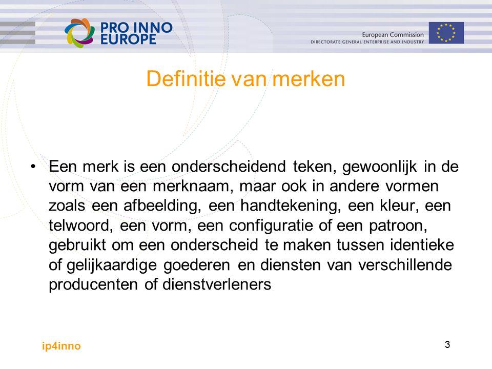 ip4inno 3 Definitie van merken Een merk is een onderscheidend teken, gewoonlijk in de vorm van een merknaam, maar ook in andere vormen zoals een afbeelding, een handtekening, een kleur, een telwoord, een vorm, een configuratie of een patroon, gebruikt om een onderscheid te maken tussen identieke of gelijkaardige goederen en diensten van verschillende producenten of dienstverleners