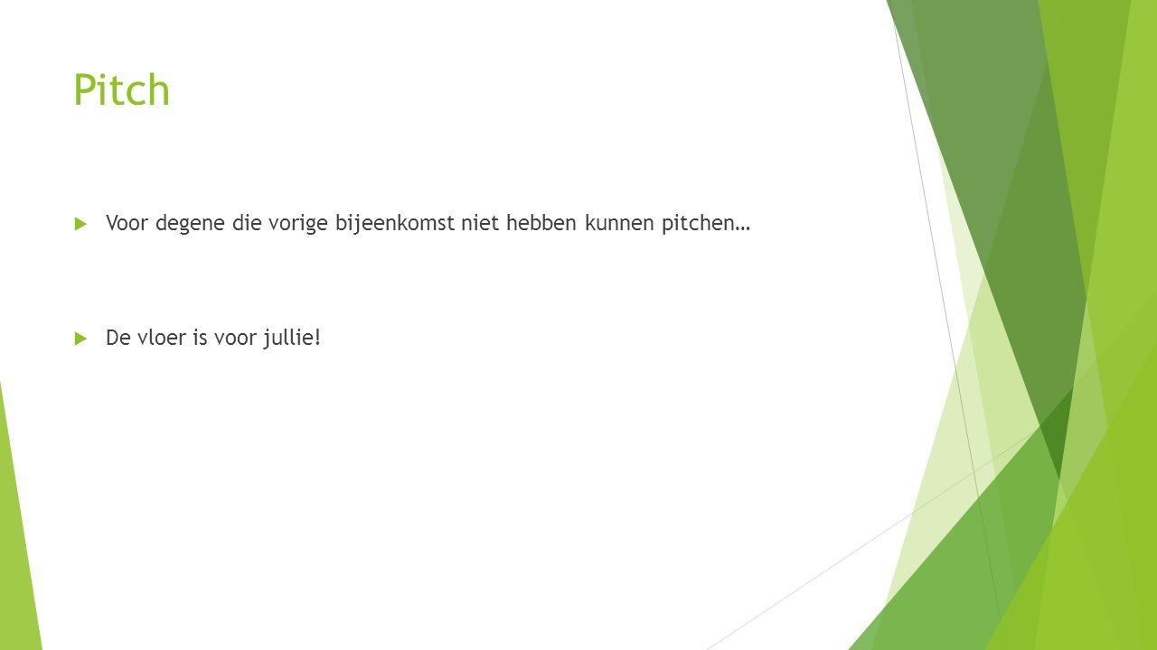 Pitch  Voor degene die vorige bijeenkomst niet hebben kunnen pitchen…  De vloer is voor jullie!