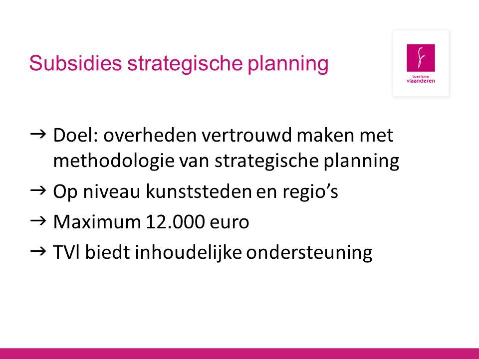 Subsidies strategische planning  Doel: overheden vertrouwd maken met methodologie van strategische planning  Op niveau kunststeden en regio's  Maximum 12.000 euro  TVl biedt inhoudelijke ondersteuning