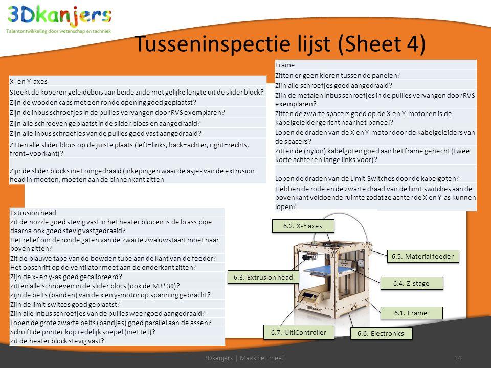 Tusseninspectie lijst (Sheet 4) 3Dkanjers | Maak het mee!14 Frame Zitten er geen kieren tussen de panelen.