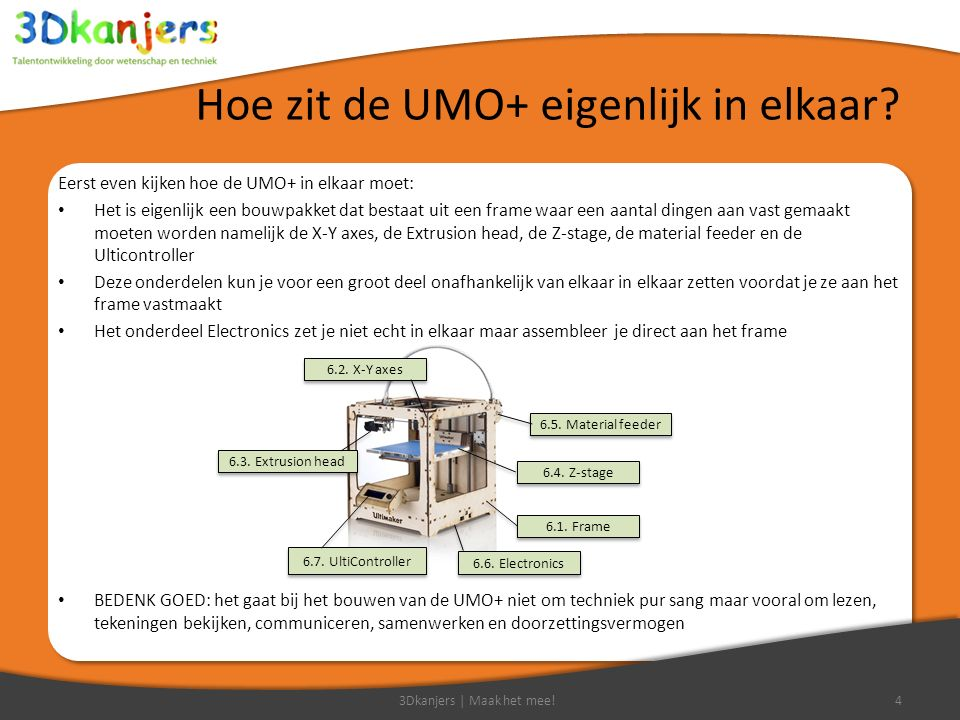 Hoe zit de UMO+ eigenlijk in elkaar? Eerst even kijken hoe de UMO+ in elkaar moet: Het is eigenlijk een bouwpakket dat bestaat uit een frame waar een
