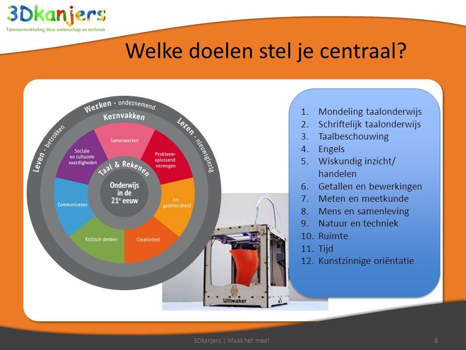 Welke doelen stel je centraal? 3Dkanjers | Maak het mee!8 1.Mondeling taalonderwijs 2.Schriftelijk taalonderwijs 3.Taalbeschouwing 4.Engels 5.Wiskundi