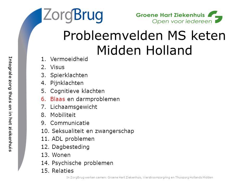 Integrale zorg thuis en in het ziekenhuis Probleemvelden MS keten Midden Holland 1.