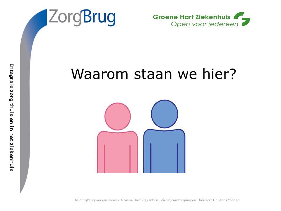 Integrale zorg thuis en in het ziekenhuis In ZorgBrug werken samen: Groene Hart Ziekenhuis, Vierstroomzorgring en Thuiszorg Hollands Midden Waarom staan we hier