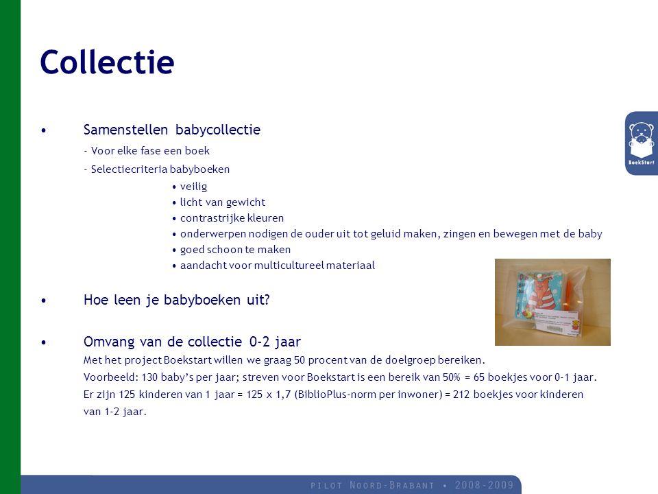 Collectie Samenstellen babycollectie - Voor elke fase een boek - Selectiecriteria babyboeken veilig licht van gewicht contrastrijke kleuren onderwerpen nodigen de ouder uit tot geluid maken, zingen en bewegen met de baby goed schoon te maken aandacht voor multicultureel materiaal Hoe leen je babyboeken uit.