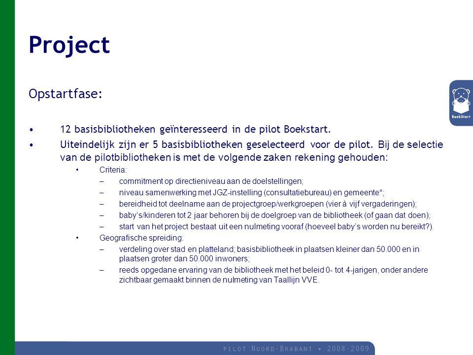 Project Opstartfase: 12 basisbibliotheken geïnteresseerd in de pilot Boekstart.