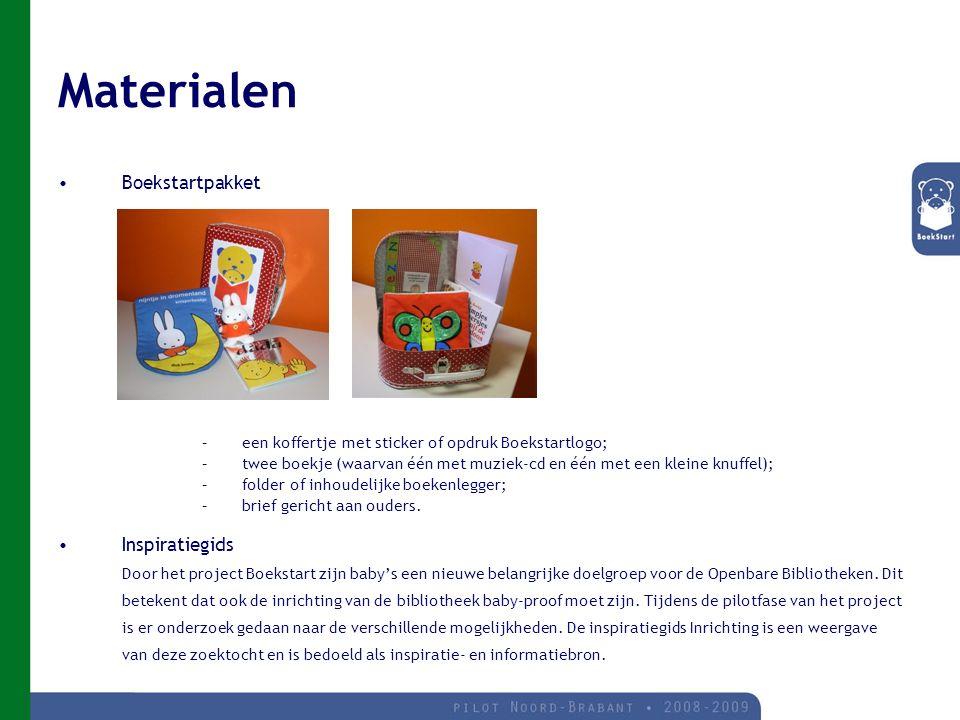 Materialen Boekstartpakket –een koffertje met sticker of opdruk Boekstartlogo; –twee boekje (waarvan één met muziek-cd en één met een kleine knuffel); –folder of inhoudelijke boekenlegger; –brief gericht aan ouders.
