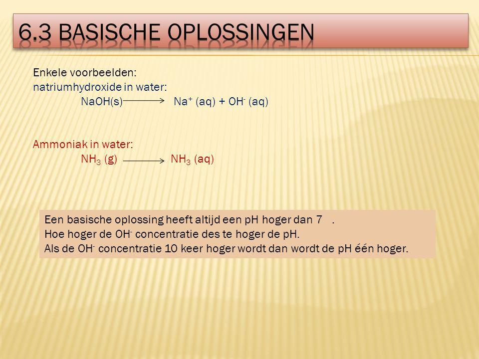 Enkele voorbeelden: natriumhydroxide in water: NaOH(s) Na + (aq) + OH - (aq) Ammoniak in water: NH 3 (g) NH 3 (aq) Een basische oplossing heeft altijd een pH hoger dan 7.