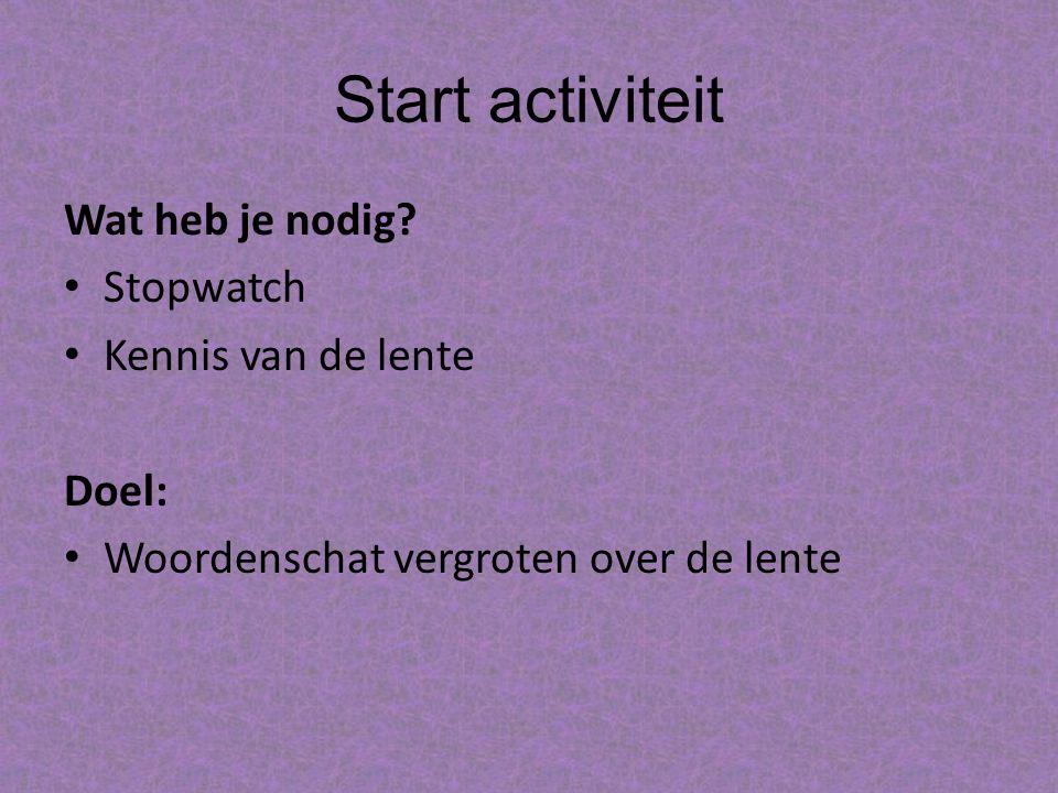 Start activiteit Wat heb je nodig.
